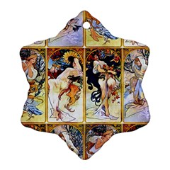Alfons Mucha 1895 The Four Seasons Snowflake Ornament (2-Side)