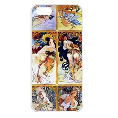 Alfons Mucha 1895 The Four Seasons Apple iPhone 5 Seamless Case (White)