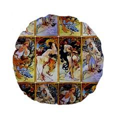 Alfons Mucha 1895 The Four Seasons Standard 15  Premium Flano Round Cushions