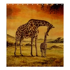 Giraffe Mother & Baby Shower Curtain 66  x 72  (Large)