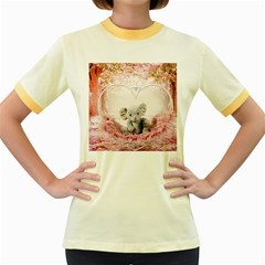Elephant Heart Plush Vertical Toy Women s Fitted Ringer T-Shirts