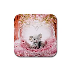 Elephant Heart Plush Vertical Toy Rubber Coaster (Square)