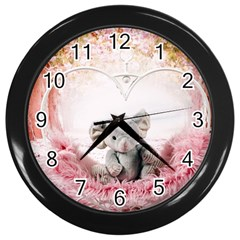 Elephant Heart Plush Vertical Toy Wall Clocks (Black)