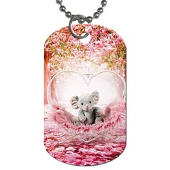 Elephant Heart Plush Vertical Toy Dog Tag (One Side)