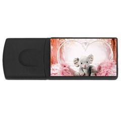Elephant Heart Plush Vertical Toy USB Flash Drive Rectangular (2 GB)