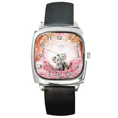 Elephant Heart Plush Vertical Toy Square Metal Watch