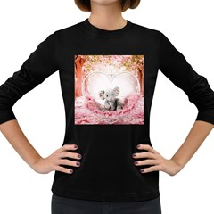 Elephant Heart Plush Vertical Toy Women s Long Sleeve Dark T-Shirts