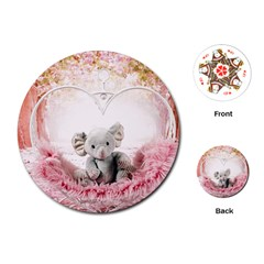 Elephant Heart Plush Vertical Toy Playing Cards (Round)