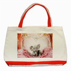 Elephant Heart Plush Vertical Toy Classic Tote Bag (Red)