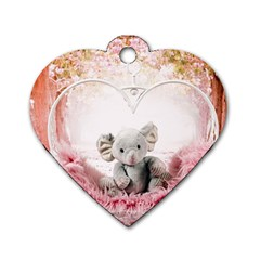 Elephant Heart Plush Vertical Toy Dog Tag Heart (One Side)