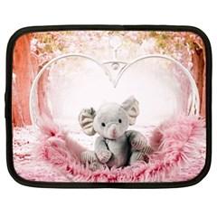 Elephant Heart Plush Vertical Toy Netbook Case (XL)