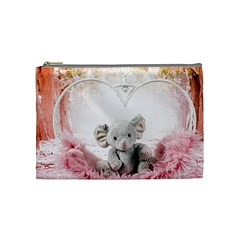 Elephant Heart Plush Vertical Toy Cosmetic Bag (Medium)