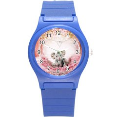 Elephant Heart Plush Vertical Toy Round Plastic Sport Watch (S)