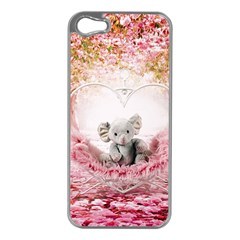 Elephant Heart Plush Vertical Toy Apple iPhone 5 Case (Silver)