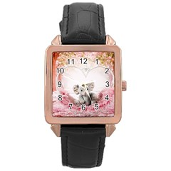 Elephant Heart Plush Vertical Toy Rose Gold Leather Watch