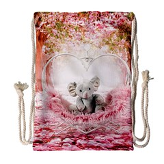 Elephant Heart Plush Vertical Toy Drawstring Bag (Large)