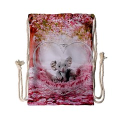 Elephant Heart Plush Vertical Toy Drawstring Bag (Small)