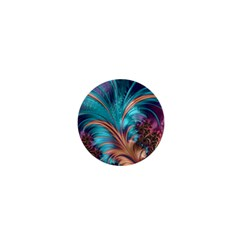 Feather Fractal Artistic Design 1  Mini Buttons