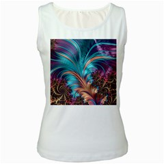 Feather Fractal Artistic Design Women s White Tank Top
