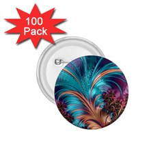 Feather Fractal Artistic Design 1.75  Buttons (100 pack)