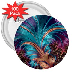 Feather Fractal Artistic Design 3  Buttons (100 pack)