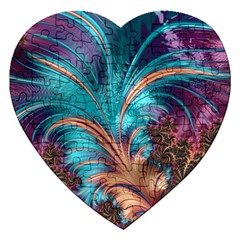 Feather Fractal Artistic Design Jigsaw Puzzle (Heart)