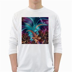 Feather Fractal Artistic Design White Long Sleeve T-Shirts
