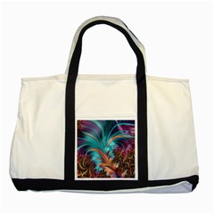 Feather Fractal Artistic Design Two Tone Tote Bag