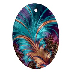 Feather Fractal Artistic Design Oval Ornament (Two Sides)