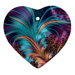 Feather Fractal Artistic Design Heart Ornament (2 Sides)