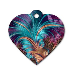Feather Fractal Artistic Design Dog Tag Heart (Two Sides)