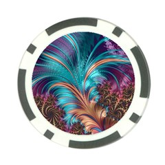 Feather Fractal Artistic Design Poker Chip Card Guards