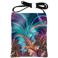 Feather Fractal Artistic Design Shoulder Sling Bags