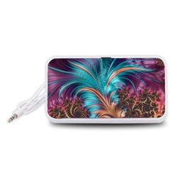 Feather Fractal Artistic Design Portable Speaker (White)