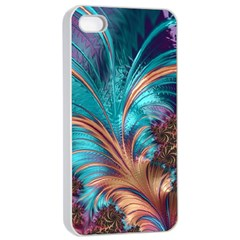 Feather Fractal Artistic Design Apple iPhone 4/4s Seamless Case (White)