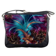 Feather Fractal Artistic Design Messenger Bags