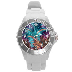 Feather Fractal Artistic Design Round Plastic Sport Watch (L)