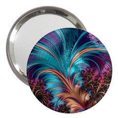 Feather Fractal Artistic Design 3  Handbag Mirrors