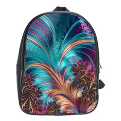 Feather Fractal Artistic Design School Bags (XL)