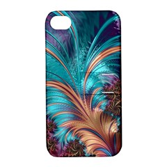 Feather Fractal Artistic Design Apple iPhone 4/4S Hardshell Case with Stand