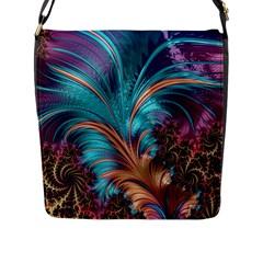 Feather Fractal Artistic Design Flap Messenger Bag (L)