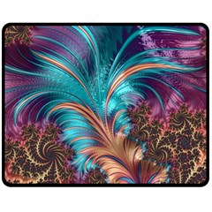 Feather Fractal Artistic Design Double Sided Fleece Blanket (Medium)