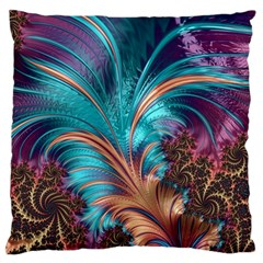 Feather Fractal Artistic Design Large Flano Cushion Case (Two Sides)