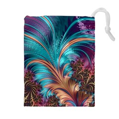 Feather Fractal Artistic Design Drawstring Pouches (Extra Large)