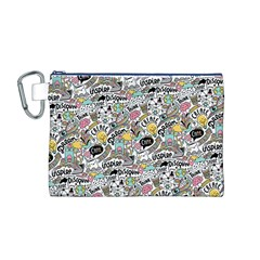 Communication Web Seamless Pattern Canvas Cosmetic Bag (M)