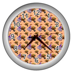 Flowers Girl Barrow Wheel Barrow Wall Clocks (Silver)