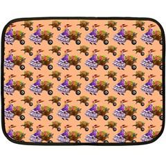 Flowers Girl Barrow Wheel Barrow Double Sided Fleece Blanket (Mini)