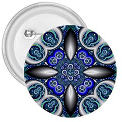 Fractal Cathedral Pattern Mosaic 3  Buttons