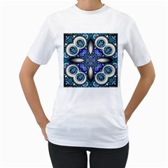 Fractal Cathedral Pattern Mosaic Women s T-Shirt (White) (Two Sided)