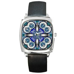 Fractal Cathedral Pattern Mosaic Square Metal Watch